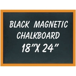"18"" x 24"" Wood Framed Black Magnetic Chalkboard"