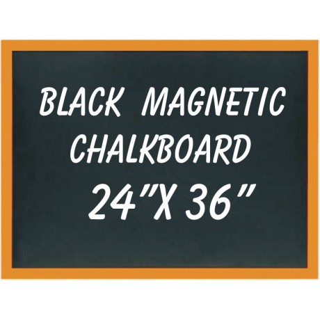 "24"" x 36"" Wood Framed Black Magnetic Chalkboard"