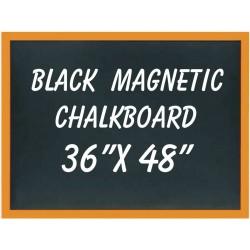 """36"""" x 48"""" Wood Framed Black Magnetic Chalkboard"""