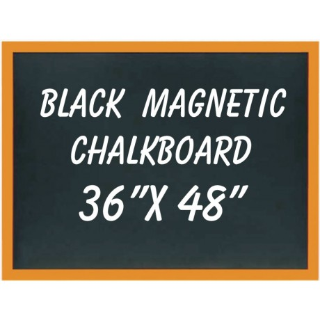 "36"" x 48"" Wood Framed Black Magnetic Chalkboard"