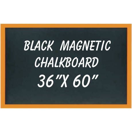 "36"" x 60"" Wood Framed Black Magnetic Chalkboard"