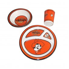 Oklahoma State Cowboys 3 piece Kid's Dish Set