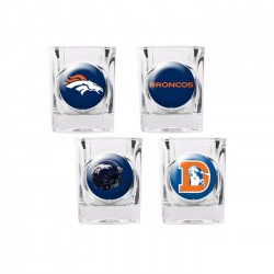 Denver Broncos 4 pc Shot Glass Set