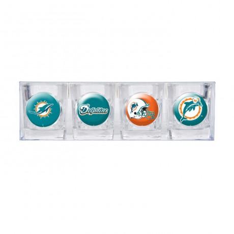 Miami Dolphins 4 pc Shot Glass Set
