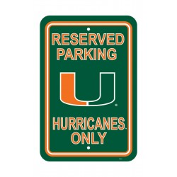Miami Hurricanes 12-inch by 18-inch Parking Sign