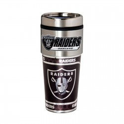 Oakland Raiders Travel Mug 16oz Tumbler with Logo