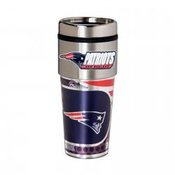 New England Patriots Travel Mug 16oz Tumbler with Logo
