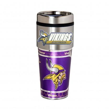 Minnesota Vikings Travel Mug 16oz Tumbler with Logo