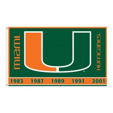 Miami Hurricanes Double Sided 3'x 5' College Flag