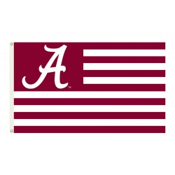 Alabama Crimson Tide Striped USA Style 3'x 5' Flag