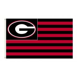 Georgia Bulldogs Striped USA Style 3'x 5' Flag
