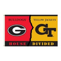 Georgia Bulldogs-Georgia Tech House Divided 3'x 5' Flag