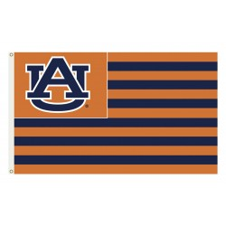 Auburn Tigers Striped USA Style 3'x 5' Flag