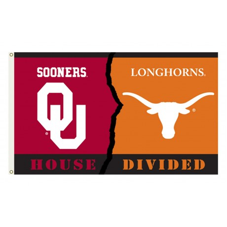 Oklahoma Sooners-Texas House Divided 3'x 5' Flag