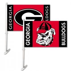 Georgia Bulldogs Dual Logo 11-inch by 18-inch Two Sided Car Flag
