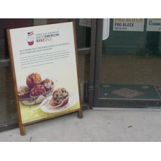 Hardwood Leaner Sidewalk Sign with Full Color Poster Insert