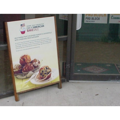 Hardwood Leaner Sidewalk Sign with Full Color Poster Insert