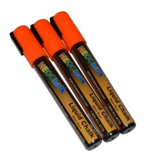 "1/4"" Chisel Tip Neon Liquid Chalk Marker - Orange 3 Pack"