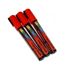 "1/4"" Chisel Tip Neon Liquid Chalk Marker - Red 3 Pack"