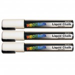 "1/4"" Chisel Tip Neon Liquid Chalk Marker - White 3 Pack"