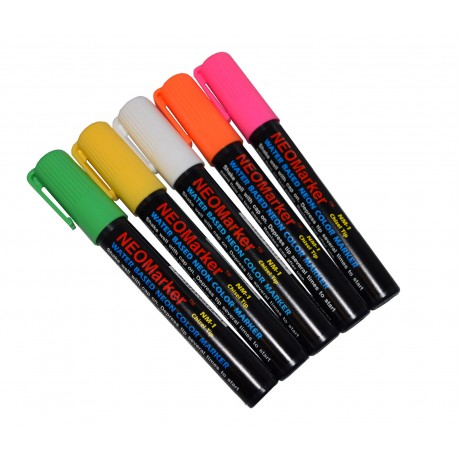 "1/4"" Black Board Chisel Tip Waterproof Marker Pens - 5 Pc Set"