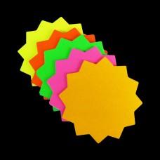 """3"""" x 3"""" Round Neon Star Card 50pk"""