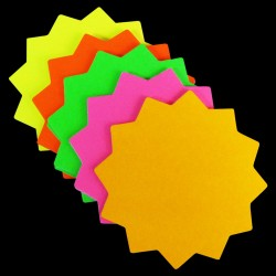 """4"""" x 4"""" Round Neon Star Cards 50pk"""