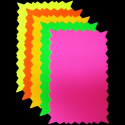 "6"" x 10"" Rectangular Neon Star Card 30pk"