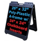 """26""""x 32"""" Poly A-Frame With Chalkboard Inserts"""