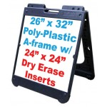 """26""""x 32"""" Poly A-Frame With Dry Erase Inserts"""