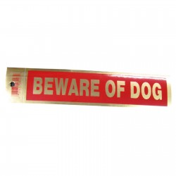 Gold Beware Of Dog Policy Business Sticker