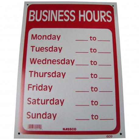 Business Hours Policy Business Sign