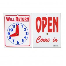 Open Come In/Will Return Clock 2 Sided Sign