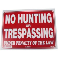 No Hunting Or Trespassing Policy Business Sign