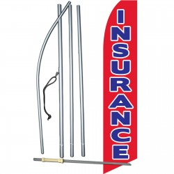 Insurance Red Blue Swooper Flag Bundle
