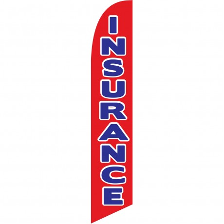 Insurance Red Blue Windless Swooper Flag