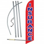 Insurance Red Blue Windless Swooper Flag Bundle