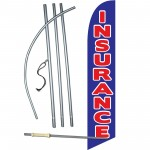 Insurance Blue Red Windless Swooper Flag Bundle