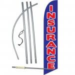 Insurance Blue Red Windless Swooper Flag Bundle