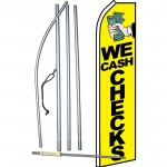 We Cash Checks Yellow Swooper Flag Bundle
