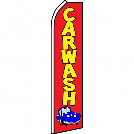 Car Wash Red Blue Car Swooper Flag