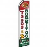 Tacos & Burritos Hot Mexican Food Swooper Flag