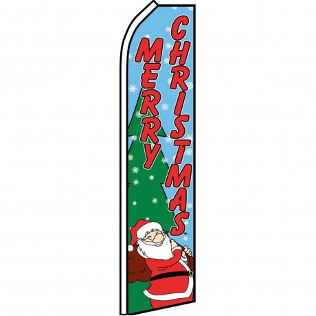 Merry Christmas Santa Swooper Flag