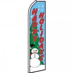 Happy Holidays Snowman Swooper Flag