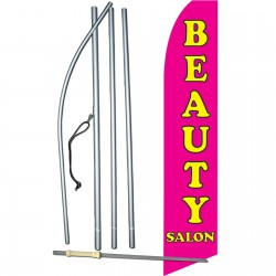 Beauty Salon Pink Yellow Swooper Flag Bundle