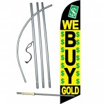 We Buy Gold Green Dollars Windless Swooper Flag Bundle