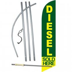 Diesel Sold Here Green Windless Swooper Flag Bundle