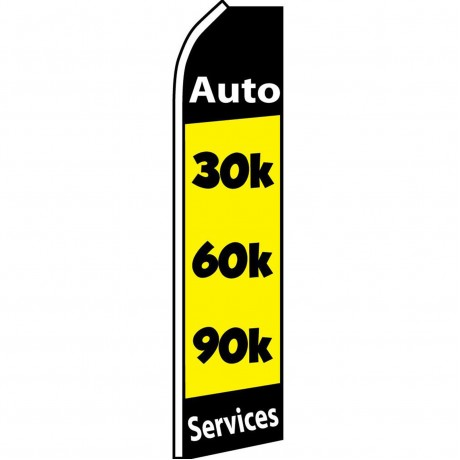 30K 60K 90K Auto Services Yellow Swooper Flag