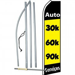 30K 60K 90K Auto Services Yellow Swooper Flag Bundle