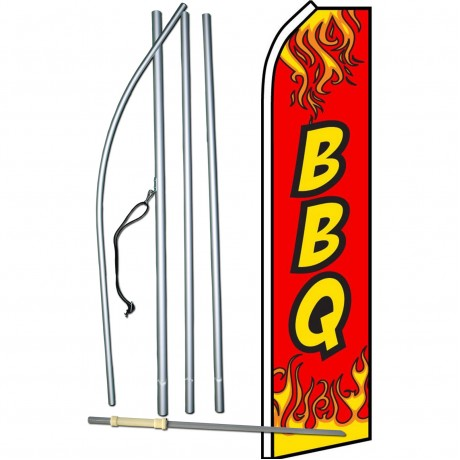 BBQ Red Flames Swooper Flag Bundle